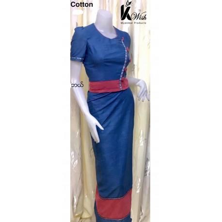 Myanmar Cotton Wear Top + Bottom -မြန်မာချည်သား ဝမ်းဆက်