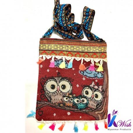 Hand Made Owl Design Slim Bag - ဇီးကွက် လွယ်အိတ် (အင်းလေး ယက်ကန်းထည်) - L: 22cm x W: 26cm (With Zip)